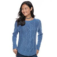 Juniors' SO® Shirttail Cable-Knit Sweater