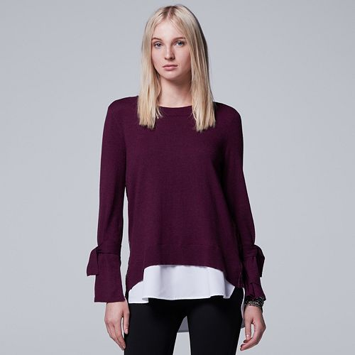 Women's Simply Vera Vera Wang Mock-Layer Lace Back Top