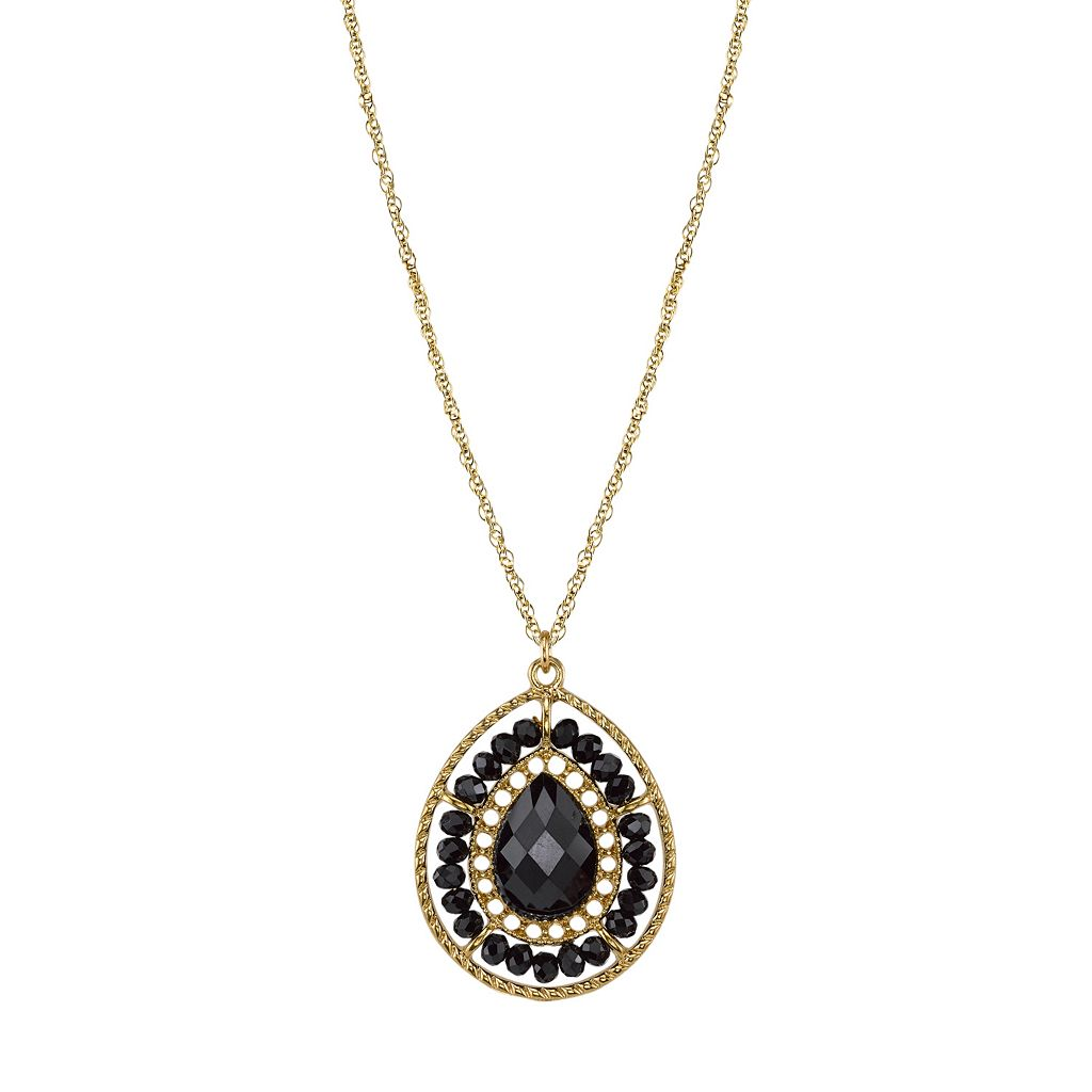 1928 Beaded Halo Faceted Teardrop Pendant Necklace