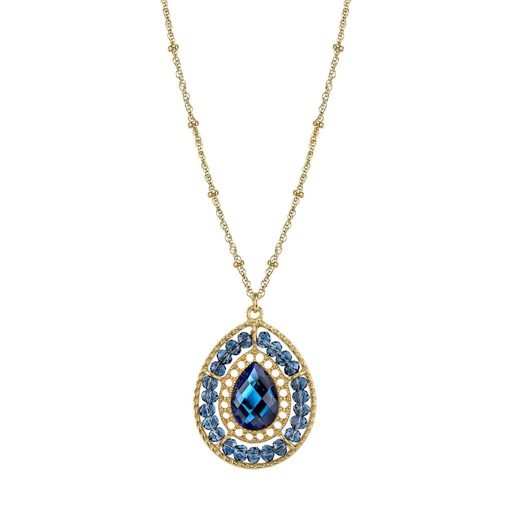 1928 Beaded Halo Faceted Teardrop Pendant Necklace