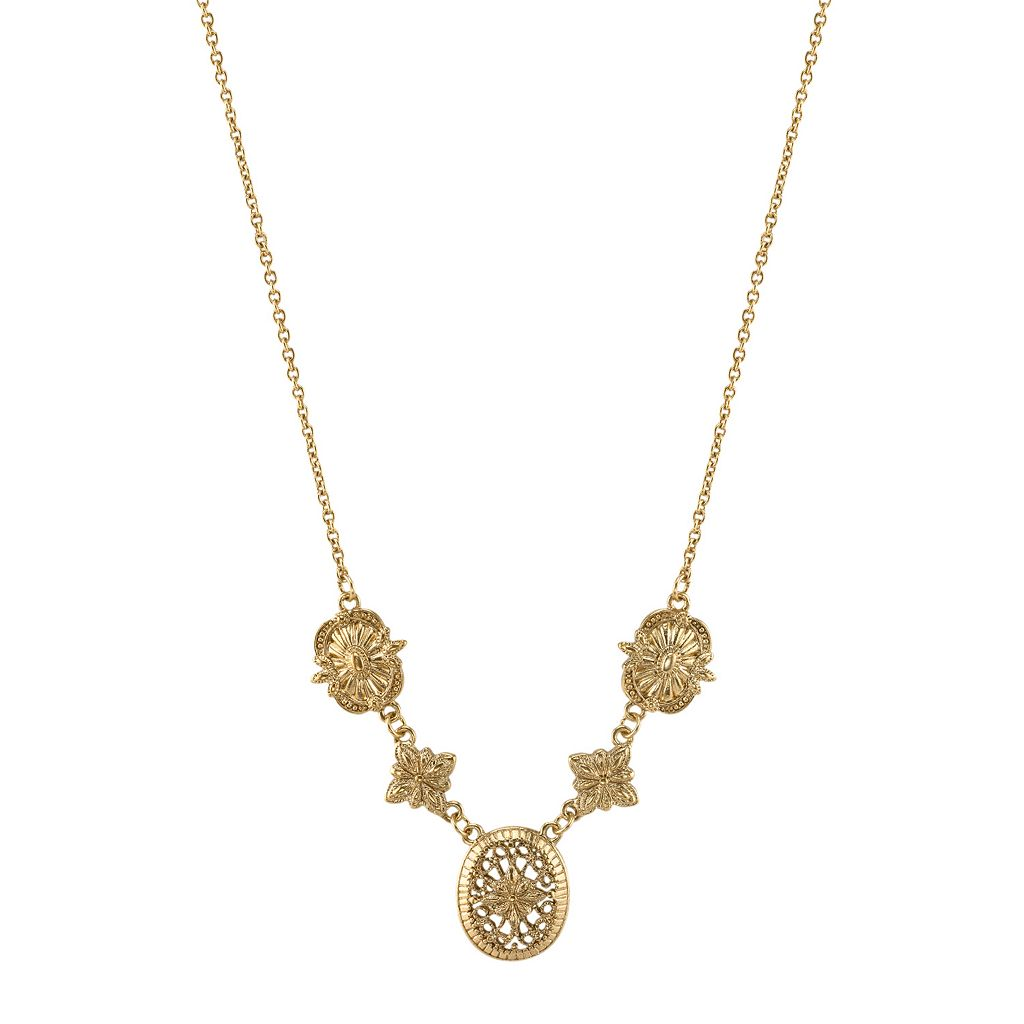 1928 Floral Filigree Link Necklace