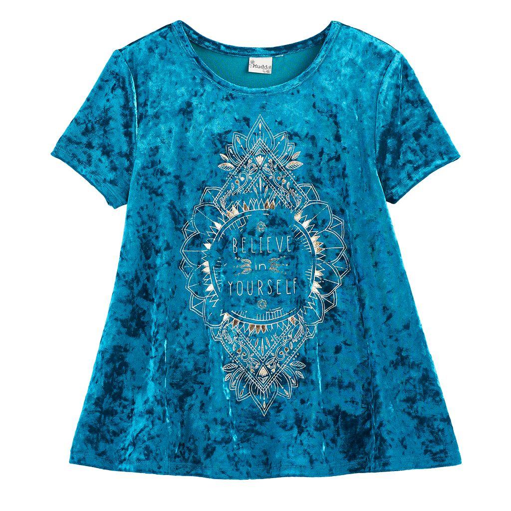 Girls 7-16 & Plus Size Mudd® Foil Print Velvet Swing Tee