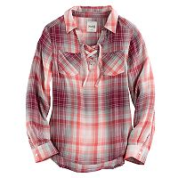 Girls 7-16 & Plus Size Mudd® Lace-Up Plaid Popover Top