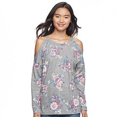 Juniors' Pink Republic Cold Shoulder Sweatshirt