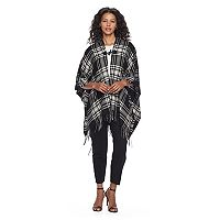 Chaps Fringed Tonal Plaid Ruana