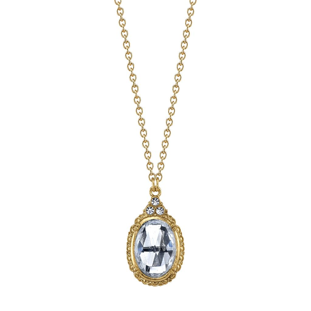 1928 Faceted Oval Stone Pendant Necklace