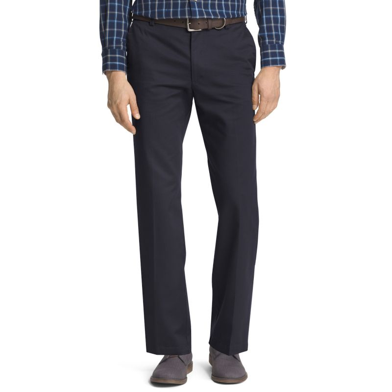 IZOD Straight Fit American Chino Flat Front Pants 32x30, Decaf Coffee