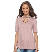 Juniors' Pink Republic Elbow Sleeve Choker Neck Top
