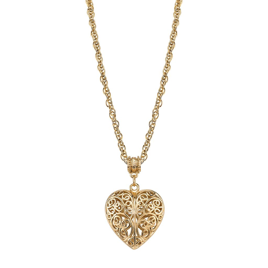 1928 Filigree Heart Pendant Necklace