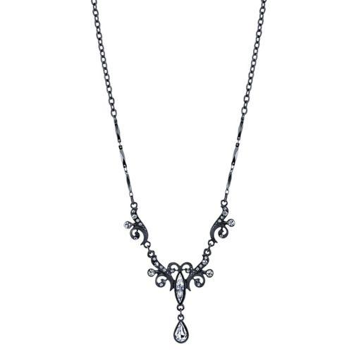 1928 Filigree Crystal Teardrop Necklace