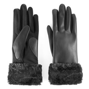 Women's isotoner Faux Fur Cuff Tech Gloves