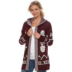 Juniors' Pink Republic Print Open-Front Cardigan