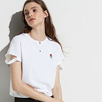 k/lab Rose Split Sleeve Tee