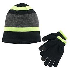 Boys Tek Gear® Striped Hat & Gloves Set