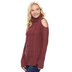 Juniors' Pink Republic Turtleneck Cold-Shoulder Sweater