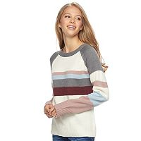 Juniors' Pink Republic Striped Long Sleeve Sweater