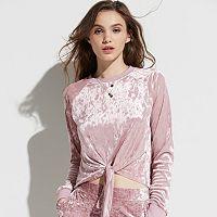 k/lab Velvet Tie Front Sweatshirt
