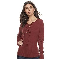 Juniors' Pink Republic Lace-Up Long Sleeve Sweater