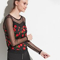 k/lab Floral & Mesh Long Sleeve Top
