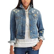 Petite Chaps Embroidered Jean Jacket