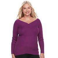 Juniors' Plus Size Candie's® Portrait Collar Sweater