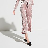 k/lab Crushed Velvet Wide-Leg Capris