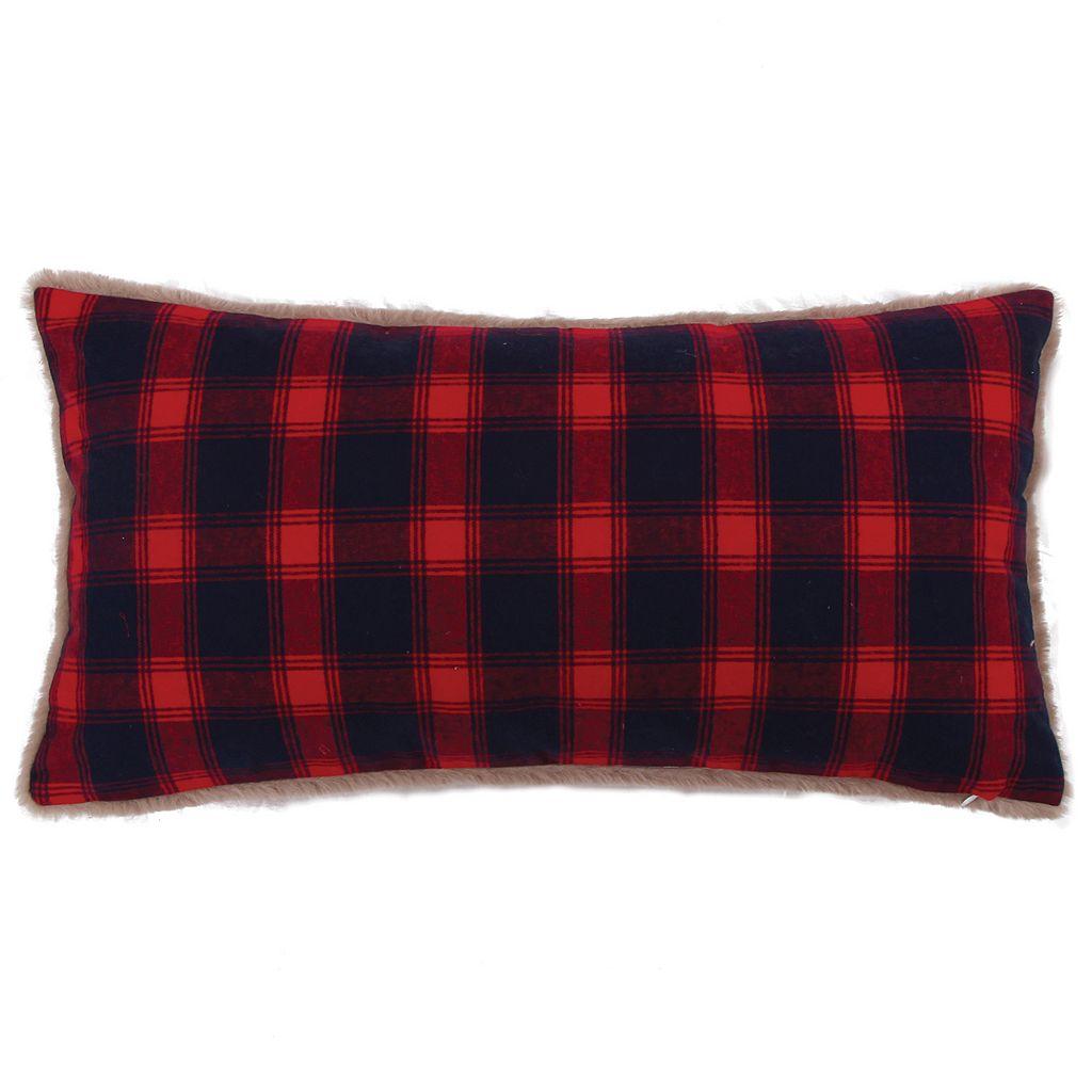 Levtex Lodge Plaid Faux Fur Oblong Throw Pillow