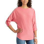 Petite Chaps Lace-Trim Boatneck Tee