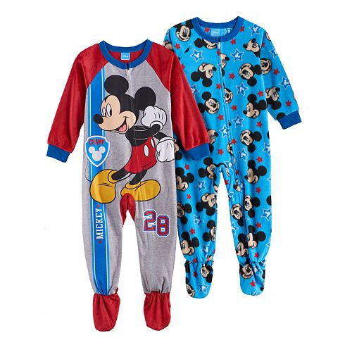 7eee1a535 Disney s Mickey Mouse Toddler Boy Fleece One-Piece Footed Pajama Set