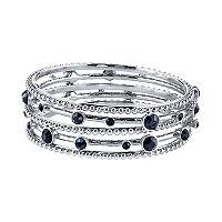 1928 Beaded & Faceted Stone Bangle Bracelet Set