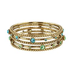 1928 Beaded & Faceted Stone Bangle Bracelet Set