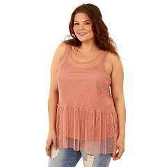 Juniors' Plus Size Wallflower Dot Mesh Peplum Tank