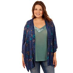 Juniors' Plus Size Wallflower Velvet Trim Tank & Kimono Set