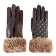 Women's isotoner Faux Fur Cuff Quilted Tech Gloves