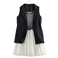 Girls 7-16 Knitworks Blazer Vest & Tulle Skater Dress Set with Necklace