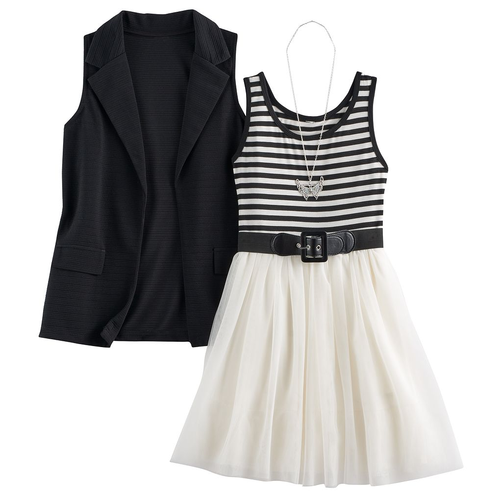 Girls 7-16 Knitworks Blazer Vest & Tulle Skater Dress Set with Necklace