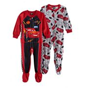 Disney / Pixar Cars 3 Lightening McQueen Toddler Boy Fleece One-Piece Footed Pajama Set