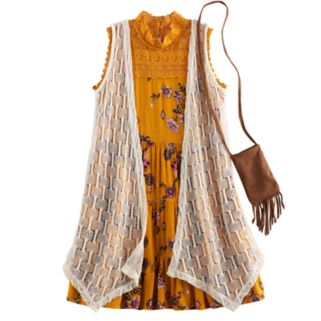 Girls 7-16 Knitworks Crochet Duster Vest & Lace Highneck Tiered Floral Dress Set with Fringe Crossbody Cell Phone Purse
