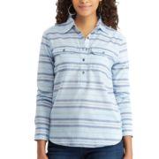 Petite Chaps Striped Chambray Shirt