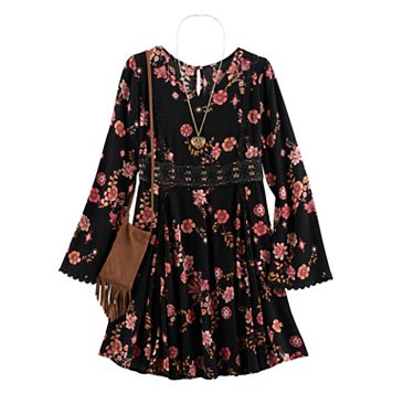 Girls 7-16 Knitworks Floral Bell Sleeve Boho Dress with Fringe Crossbody Cell Phone Purse & Necklace