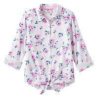 Girls Plus Size SO® Tie-Front Patterned Shirt