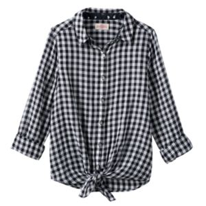 Girls 7-16 SO® Tie-Front Patterned Shirt