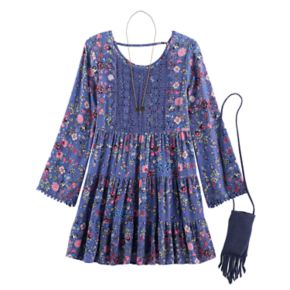 Girls 7-16 Knitworks Floral Bell Sleeve Boho Tiered Dress with Fringe Crossbody Cell Phone Purse & Necklace