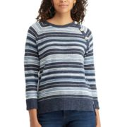 Petite Chaps Striped Button-Shoulder Sweater