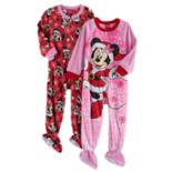 Disney's Minnie Mouse Toddler Girl 2-pk. Christmas Fleece Footed Pajamas