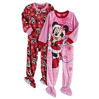 Disney's Minnie Mouse Toddler Girl 2 pkChristmas Fleece Footed Pajamas