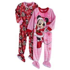 Disney's Minnie Mouse Toddler Girl 2-pk. Christmas Fleece Footed Pajamas