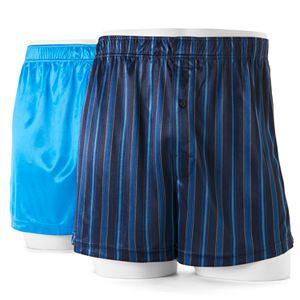 Men's Croft & Barrow庐 2-pack Solid & Patterned Microfiber Knit Boxers
