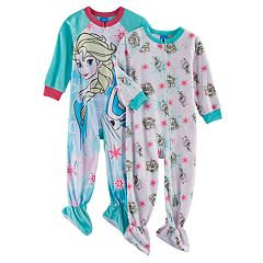 Disney's Frozen Elsa & Olaf Toddler Girl 2 pkFleece Footed Pajamas