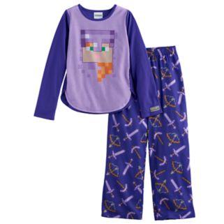 Girls 6-14 Minecraft Alex Top & Bottoms Pajama Set